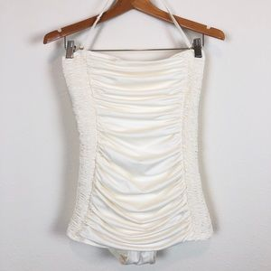 DKNY Ruched Halter Off White One Piece